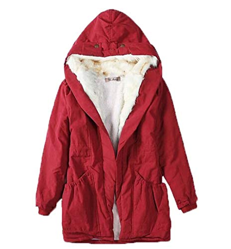Puluo Women's Faux Fur Jacket with Zip Hood Fur Long Coat Fluffy Cardigan with Pockets Red XXL