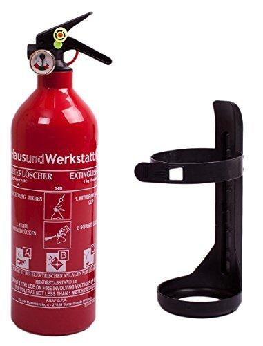 Aluminium 1kg ABC Autofeuerlöscher mit Manometer + Halterung mit Instandhaltungsnachweis von HausundWerkstatt24