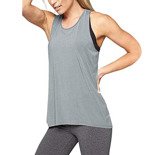 MORETIME Canotte e Top da Donna Abbigliamento Sportivo, Donna Cross Back Yoga Camicia Senza Maniche Racerback Allenamento Active Tank Top(L, XL)