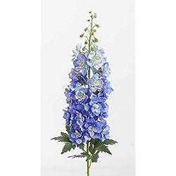 artplants Künstlicher Rittersporn RIKKE, blau-weiß, 95 cm, Ø 15 cm - Deko Blumen/Seidenblume