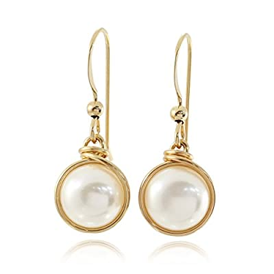 14k Gold Filled Earrings Hand Wrapped Cultured Pearls Wedding Jewellery Bridal or Bridesmaids Gifts, 8 Mm by Stera Jewelry