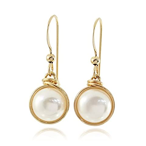 14k Gold Filled Earrings Hand Wrapped Cultured Pearls Wedding Jewellery Bridal or Bridesmaids Gifts, 8 Mm