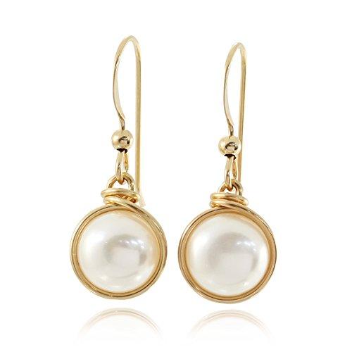 Orecchini in oro 14 ct, confezionati a mano con perle coltivate, ideali per sposa o damigella, 8 mm