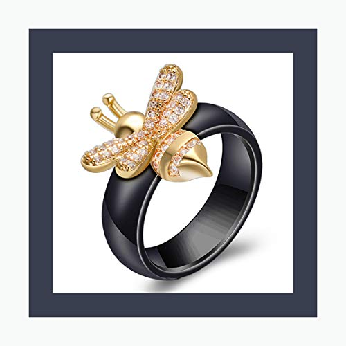 AXstore Schmuck Ring Black White Colorful Ring Ceramic Ring for Women with Big Crystal Wedding Band Ring Width 6Mm Size 6-10 Gift for Men CM1042 8 (Mens 10mm Bands Schwarz Wedding)