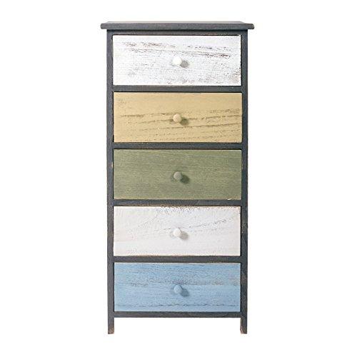 Rebecca mobili cassettiera armadietto 5 cassetti legno paulownia grigio bianco beige azzurro verde vintage camera arredo casa (cod. re4885)