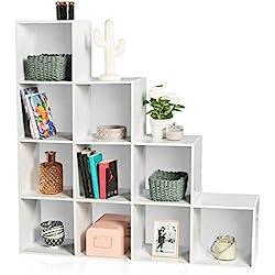 IDMarket - Meuble escalier 4 niveaux bois blanc fond blanc