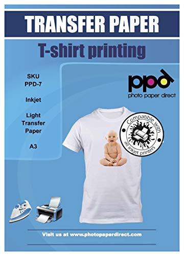 PPD A3 A getto d'inchiostro carta di trasferimento per magliette di colore chiaro -10 fogli