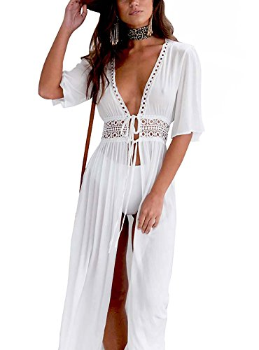 Carolilly Cache Maillot Femme Robe de Plage Longue Ajourée Manches 1/2 Blouse Bikini en Dentelle Blanc, Blanc, XL/40