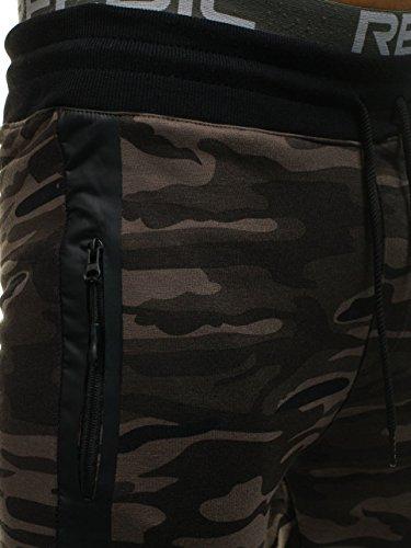 BOLF – Pantaloni – Di tuta – Sportivi – Motivo mimetico – Tasche – Con cuciture - Da uomo 6F6 Khaki