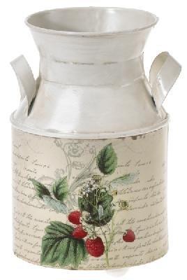 6er Pack Henkelkanne-Erdbeere rund 17cm, B natur ,Kunstblume / Kunstpflanze