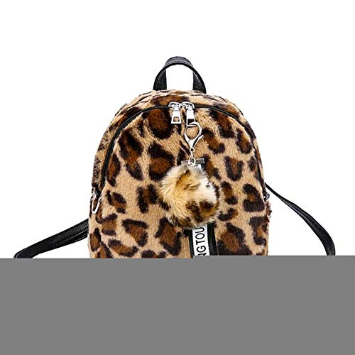 Mochila para niñas, diseño de leopardo, pompón, con cremallera, bandolera de felpa para mujer