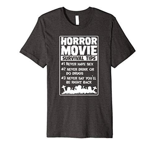 Horror Film Überleben Tipps Funny T-Shirt für Herren Damen Kinder