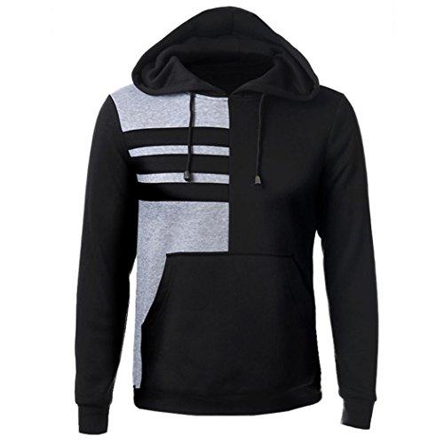 Felpa uomo, FEITONG felpa con cappuccio manica lunga con cappuccio Top outwear giacca cappotto (XL, Nero)