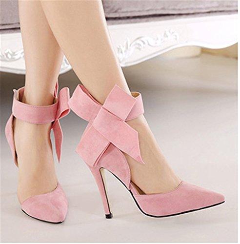 De Estiletes Salto Wealsex Casamento Alto Do de Verão rosa Bombas Camurça Mulheres De Sapatos De Strappy Pontas 8XqvX4Rn