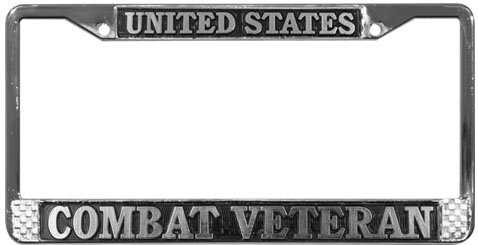 United States Combat Veteran License Plate Frame (Chrome Metal) by Tag Frames (Military) - United License Plate Frame
