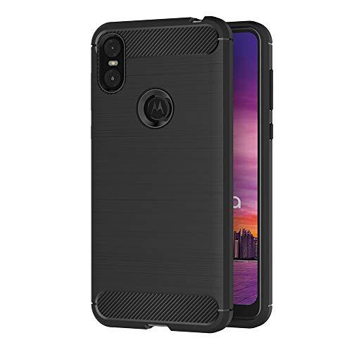 AICEK Motorola One Hülle, Schwarz Silikon Handyhülle für Motorola One Schutzhülle Karbon Optik Soft Case (5,9 Zoll)