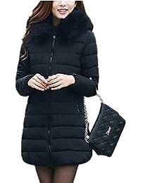 Fanessy Doudoune Longue Manteau Femme Zippé Amincissant épais Chaud avec  Col Fourrure Comfortable avec Capuche Longue 8d2480bf33e8