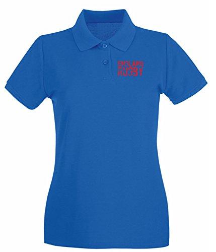 T-Shirtshock - Polo pour femme TRUG0170 ruggershirts england rugby logo Bleu Royal