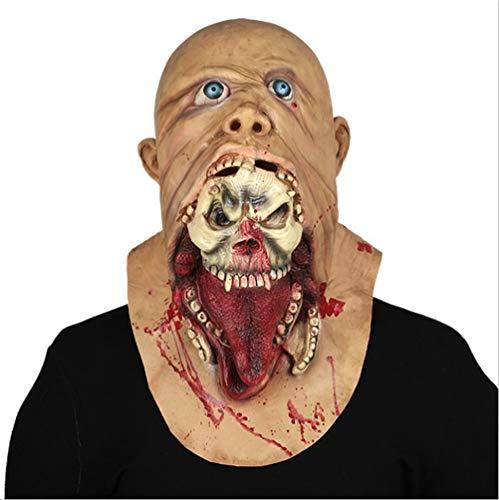 Jingya Unheimlich Maske, Resident Evil Zombie Maske, Bloody Monster Maske Halloween Kostüm Party Latex Requisiten Einheitsgröße für die meisten Erwachsenen (Halloween Skelett Makeup-tipps)