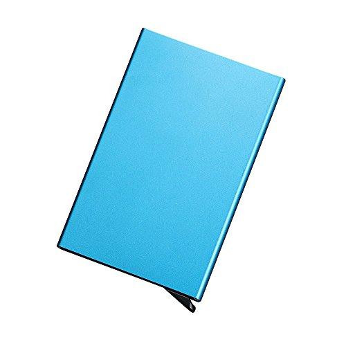 Multifunktions RFID NFC blockierender Kreditkarte Box Halter Aluminium 5ID Business Trading Karte Fall Displayschutzfolie Herren Neuheit Frauen Wallet TRAVEL Aufbewahrung Datei Boxen Sicherheit Shell Paket blau (Collector Card Display Case)