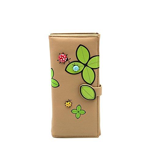 Donna portafoglio chiusura interna di Menkai lunga moda portafoglio piatto con appliques di coccinelle e petali design 771A Beige