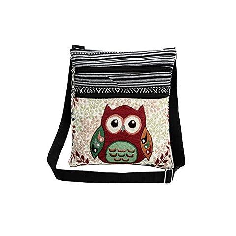 Tinksky Canvas Crossbody Bag Hobo Zipper Bag Shoulder Bag Messenger Bag Owl Printed Bohemian Satchel Women Shopping Pouch