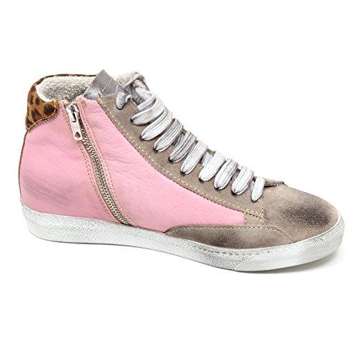 D2886 sneaker donna P448 E4 STAR scarpe rosa/beige vintage shoe woman Rosa/Beige