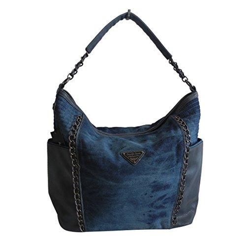 Lässige Canvas Jeans Schultertasche von Jennifer Jones - Damentasche, Shopper, Umhängetasche, Vintage Handtasche, Denim - Baumwollstoff Segelstoff (Blau) - präsentiert von ZMOKA®