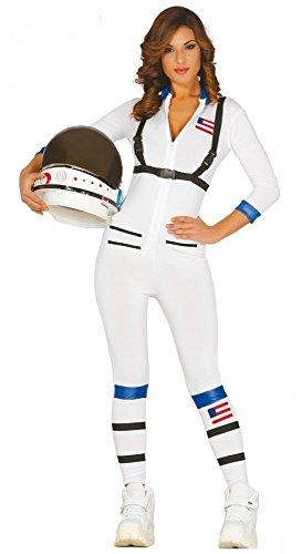 Sexy Astronautin Damenkostüm Overall Catsuit weiß Nasa Space Woman