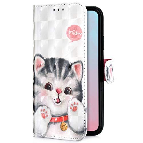 Uposao Kompatibel mit Samsung Galaxy Note 10 Handytasche Bling Glitzer 3D Muster Handy Hülle Flip Case Cover Schutzhülle Tasche Lederhülle Bookstyle Klapphülle Kartenfächer,Katze