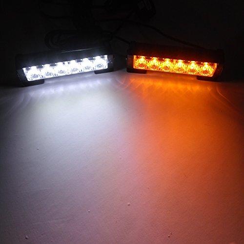 Linchview 2Luci lampeggianti da 6LED, 36Watt, 12V, per auto/camion, stroboscopiche, con cavo per interruttore e staffa di montaggio, 7modalità di illuminazione lampeggiante