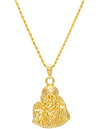 Memoir Gold Plated SAI BABA Religious God Pendant, Locket, Chain Necklace Temple Jewellery For Men & Women