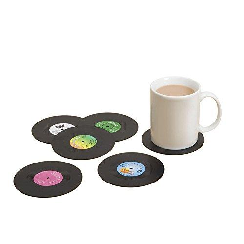 iTemer. 6PCS Schallplatten-Untersetzer Retro Vinyl Stil Untersetzer Tasse Matte rutschfeste Isolierte Kaffee Getränke Matte für Geschirr, Getränkehalter, Tisch-Sets, Tee-Sets -
