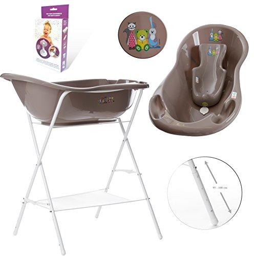 GoFuture Babybadewanne + höhenverstellbarem Ständer + Badesitz + Abflussset (Abfluss, Schlauch) - Little Bear & Friends in Braun