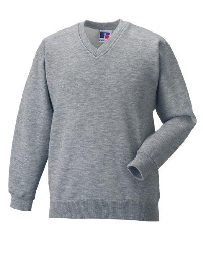 Jerzees Schoolgear Sweat-shirt à col en V Gris - Light Oxford