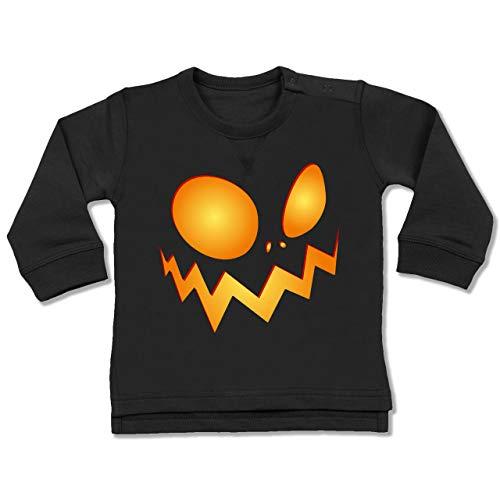 (Shirtracer Anlässe Baby - Kürbisgesicht groß Pumpkin - 18-24 Monate - Schwarz - BZ31 - Baby Pullover)