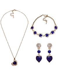 Penny Jewels Alloy Party Wear Stylish Look Pendant With Earring Set & Bracelet ,Chain For Women & Girls