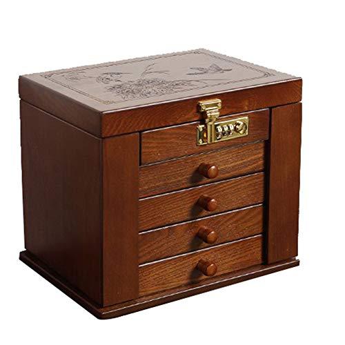 Renjianfeng portagioie in legno, cassetti estraibili multistrato con custodia con serratura con password scatole portaoggetti per gioielli di grande capacità, regalo di san valentino,fourfloors