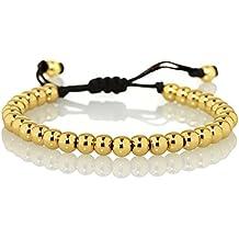 NAMANA Freundschafts-Armband mit Metall-Beads Unisex Perlenarmband mit verstellbarer schwarzer Schnur, für Sie und Ihn