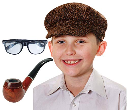 Labreeze Kinder Jungen Naughty Opa Onkel Flache Kappe Brille Holz Pfeife Verkleidung