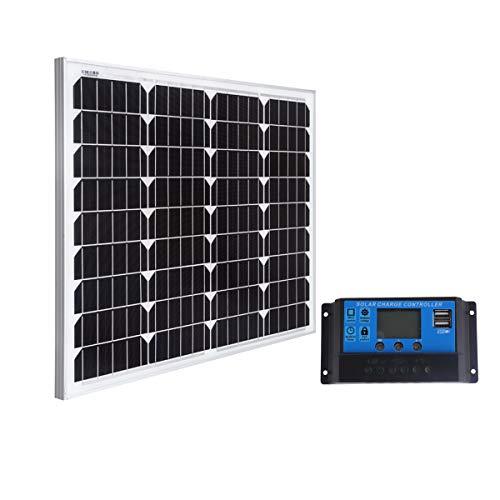 SARONIC 60W 12V Mono Solar Panel mit 0.9M MC4 Line für Caravan, Camper, Boat + 20A Solar Charger Controller Solar Panel Controller