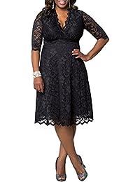 Vestido talla grande de encaje cuello en V media manga vestido para mujer de moda