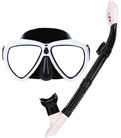 plongée avec tuba apnée Masque Tuba Dry Top Tuba, anti-buée adultes, femme, blanc