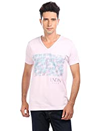 LNDN HOUR Half Sleeves New Stylish Chest Print V Neck Cotton Tshirt, Latest High Quality Fashion Garments For Mens / Boys. Barely Pink Colour