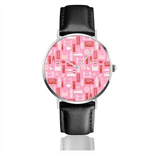 Reloj de Pulsera de Cuarzo, diseño de Londres, Color Rosa y Rojo, para niños, con Correa de Piel Negra