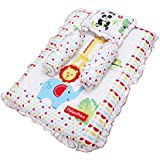 Fisher Price GS-04 Mattress Set With Pillow And 2 Bolsters (Multicolor)