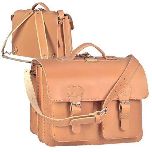 Ruitertassen Lederranzen 38cm Schulranzen Schultasche 2 Fächer 2 Vortaschen Rückengurte Tragegriff Schultergurt Natur braun