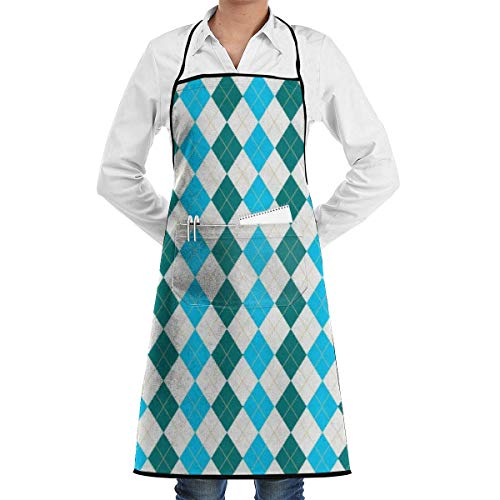 DFHome Restaurant Home Kitchen Bib Apron with Pocket Blue Squares and Green Squares Kitchen Apron Waterproof for Cooking Baker Servers BBQ Chef Servers Waiter Schürze - Blue Square Baker