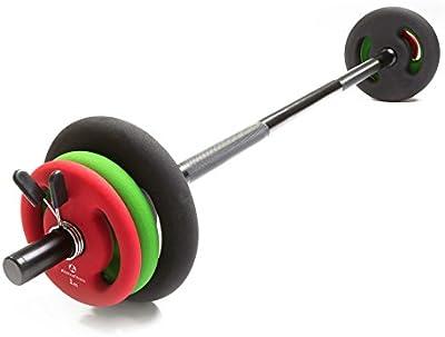 Barra larga de musculación con cierre de pinza, incluye discos (pesas) de hierro fundido 100%, en distintas variantes: 6 kg 10 kg 12 kg 20 kg