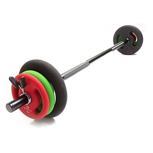 Langhantel mit Federverschluss inklusive Hantelscheiben (Gewichte) aus 100% Gusseisen in unterschiedlichen Varianten : 2x1kg / 2x2kg / 2x3kg